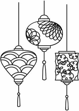 lanterns are a must for midautumnfestival line drawings stencils