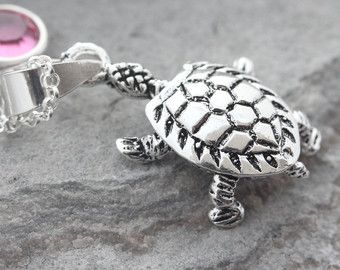Turtle Necklace . CuteSterling Silver Sea Turtle Charm,  Longevity, Persistence Symbol . Personalized jewelry . 50 years old gift idea