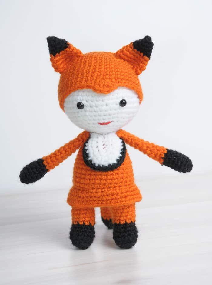 Muñeca Amigurumi en traje de zorro - patrón libre | muñecas ...