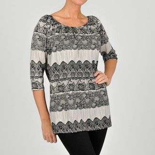 @Overstock - This vivid women's top features a flattering scoop neckline and a 3/4-lengh sleeve design. This functional top also spotlights jersey-knit styling, a pullover entry and a comfy polyester-blend construction.http://www.overstock.com/Clothing-Shoes/Anna-Lee-Hope-Womens-Lace-Print-Tunic-Top/6359492/product.html?CID=214117 $28.49