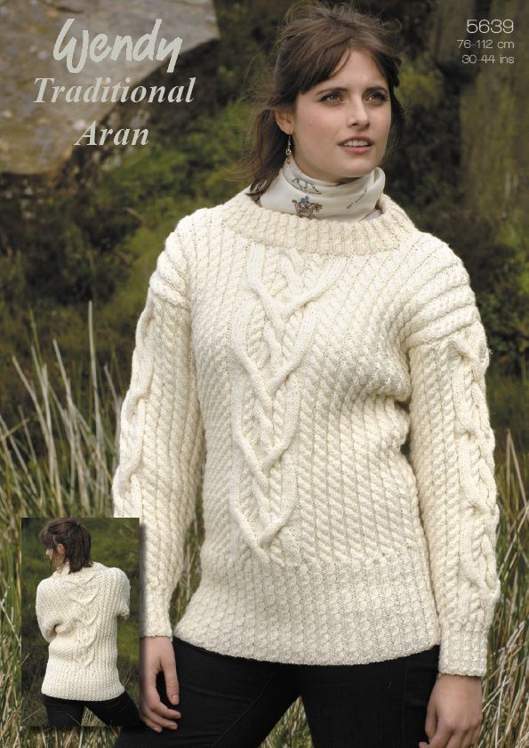 Interlace Cable Sweater in Wendy Traditional Aran - 5639 | Knit ...