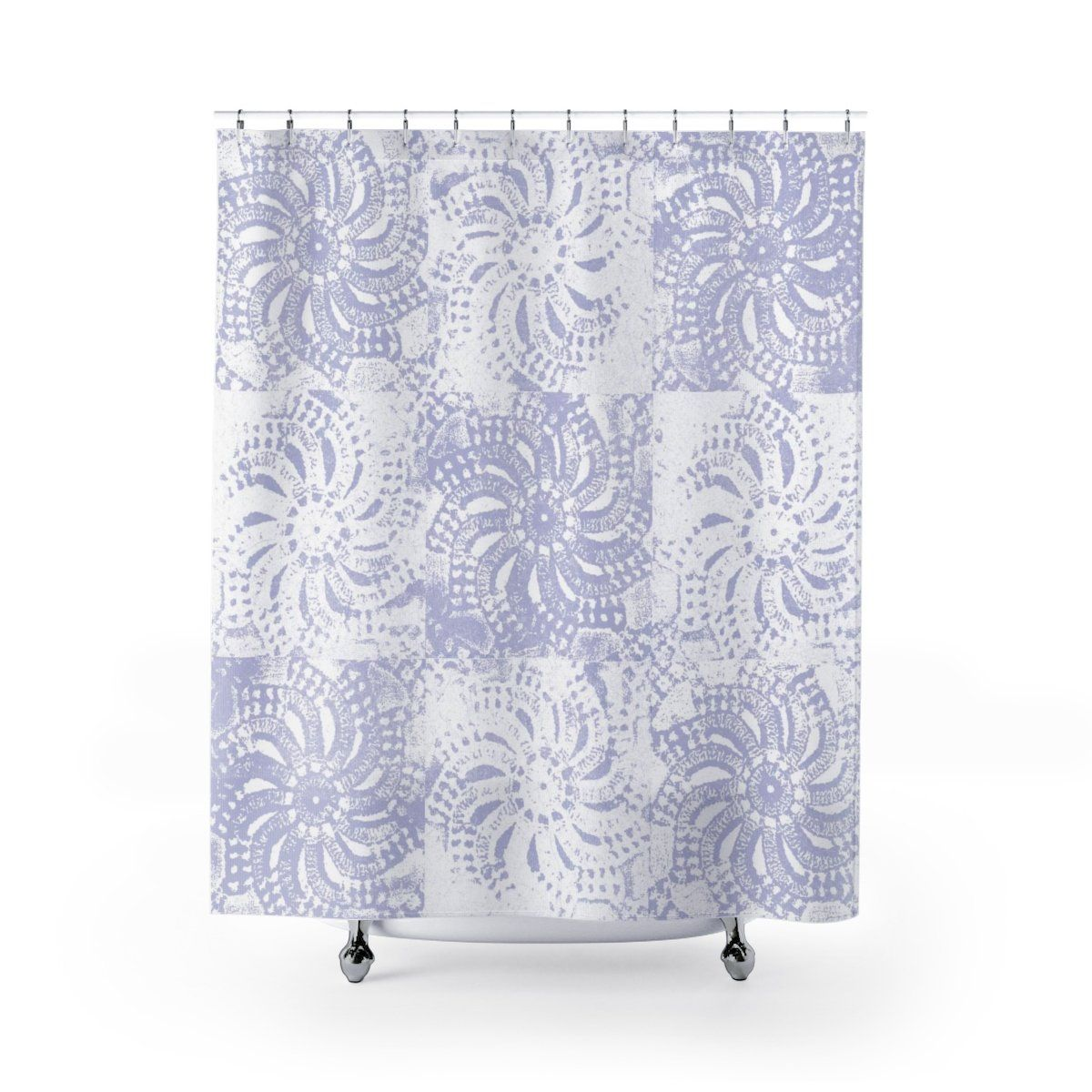Periwinkle And White Lace Mandala Shower Curtain Purple Bathroom