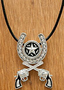 Montana Silversmiths® Silver Horseshoe and Roped Star Crossed Pistols Necklace