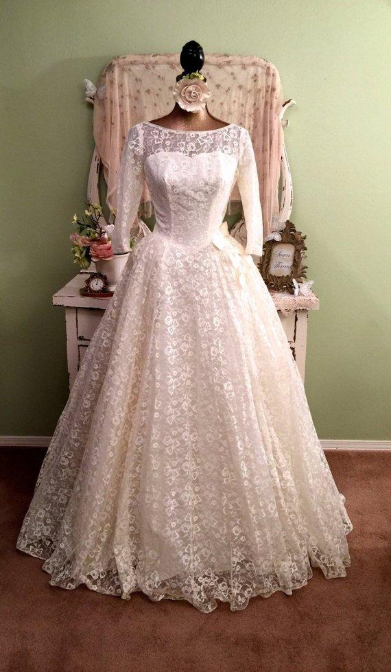50s Vintage Lace Wedding Dress