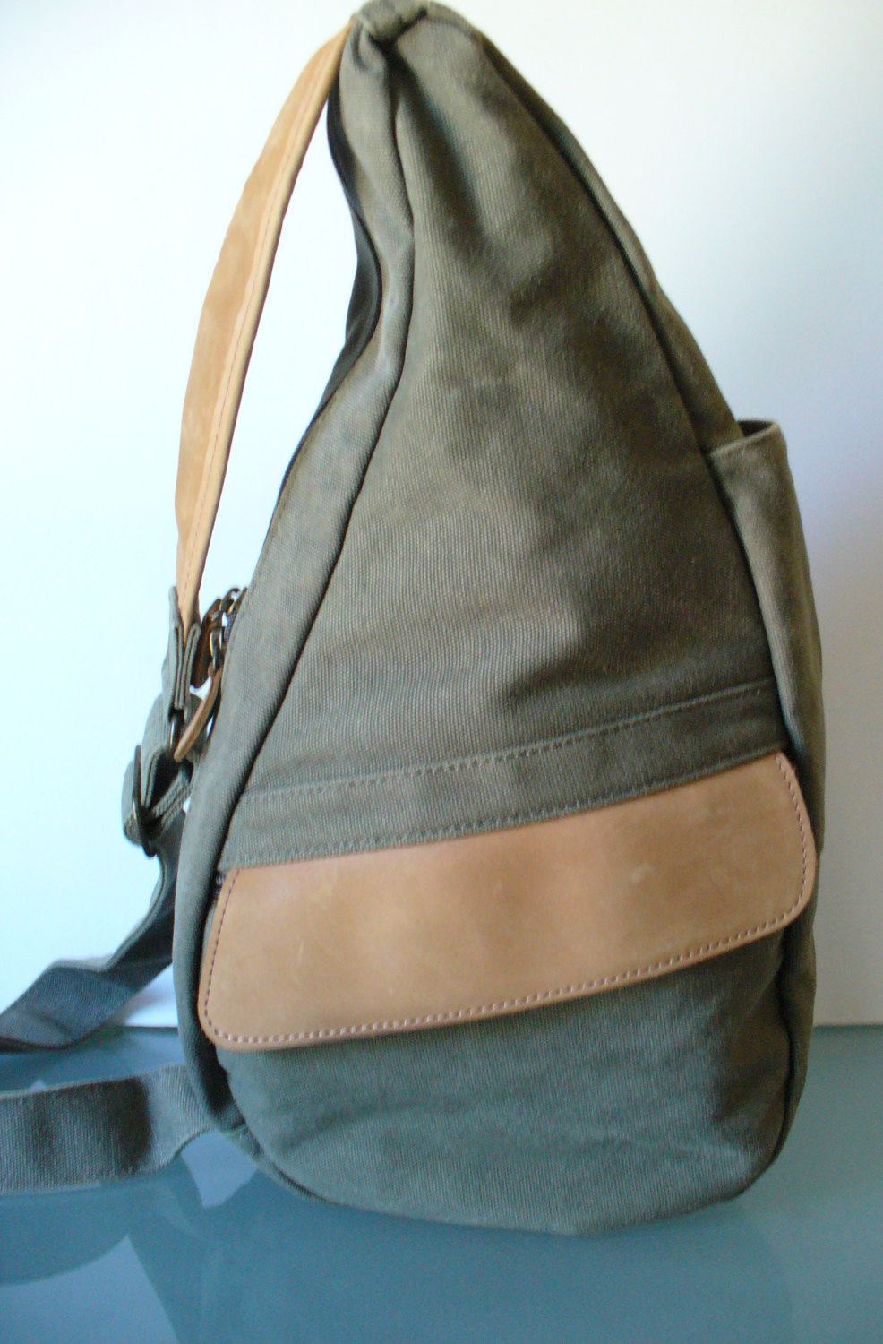 L Bean Army Green Cotton Leather Bag By Theoldbagonline On Etsy