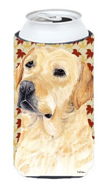 Labrador Yellow Fall Leaves Portrait Tall Boy Beverage Insulator Beverage Insulator Hugger