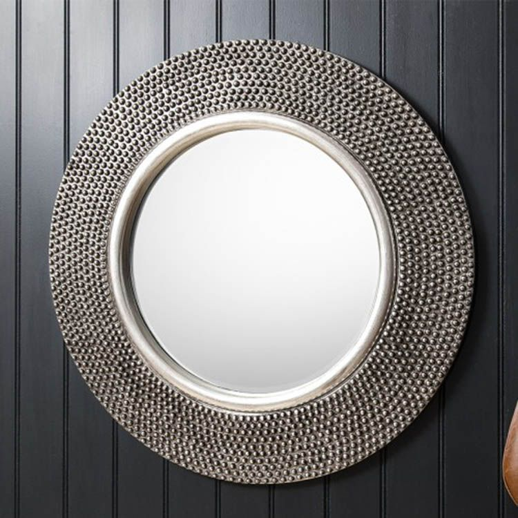 Round Silver Beaded Wall Mirror 80cm Ideal For Any Modern On Mid