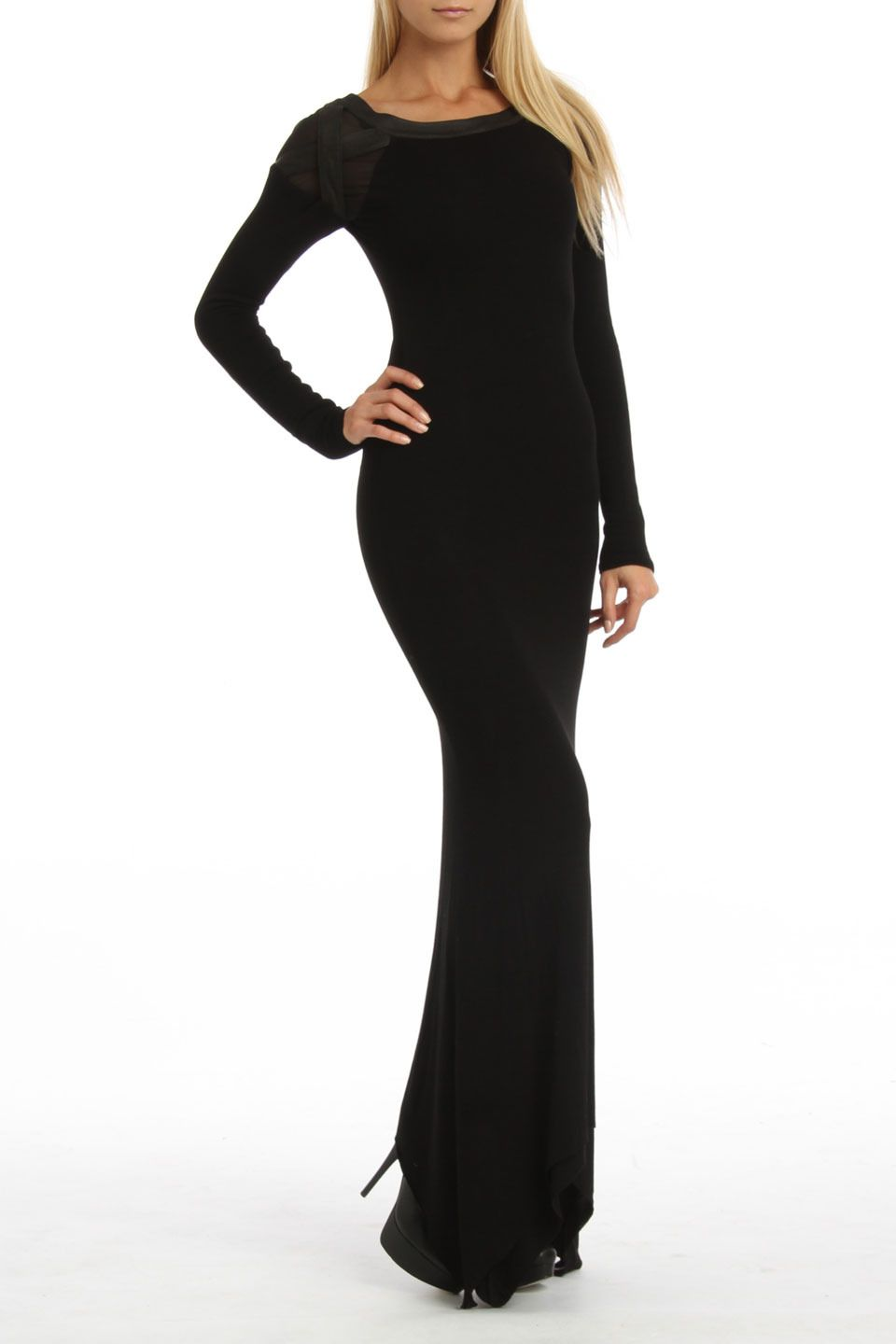 Black full sleeve maxi dress add a belt some jewelry