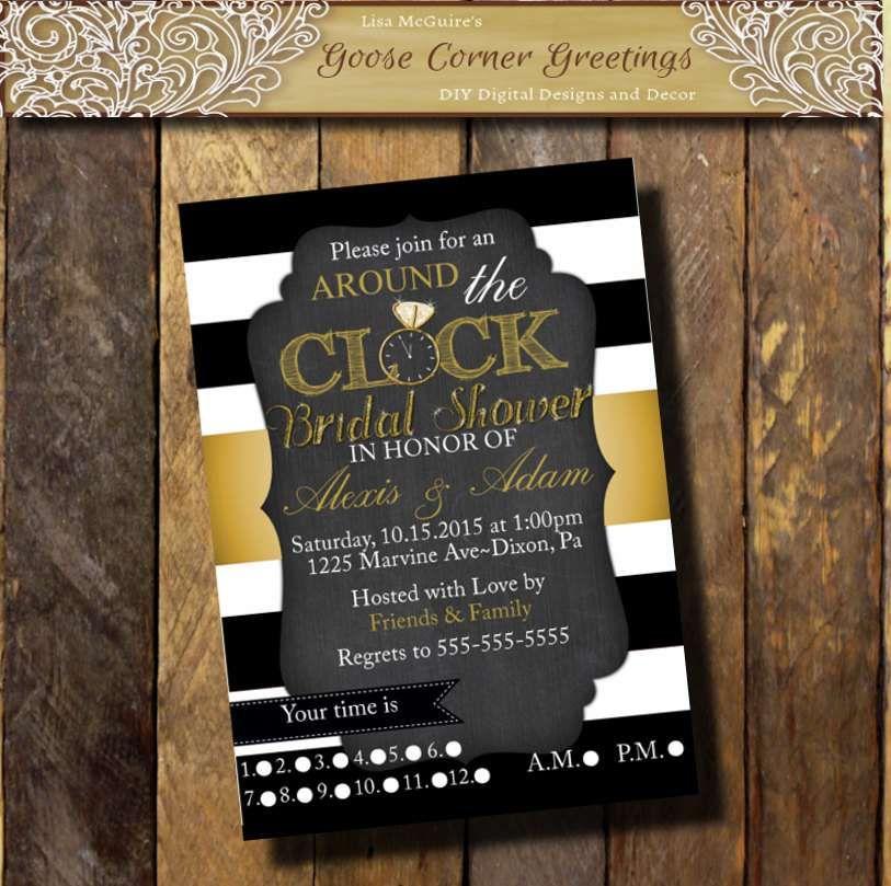 Free Printable Around The Clock Bridal Shower Invitations – Around the Clock Wedding Shower Invitations