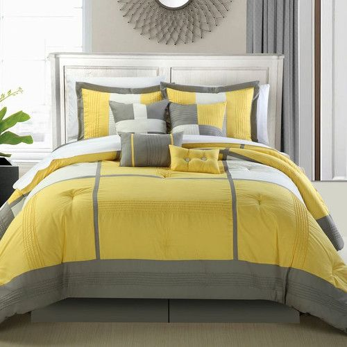 Yellow And Grey Bedspread Chic Home Dorchester 8 Piece Comforter