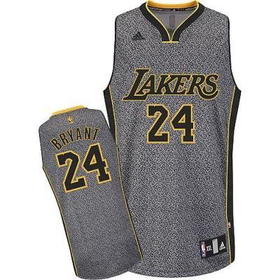 NBA Los Angeles Lakers #24 Kobe Bryant Grey Static Fashion Authentic Jerseys