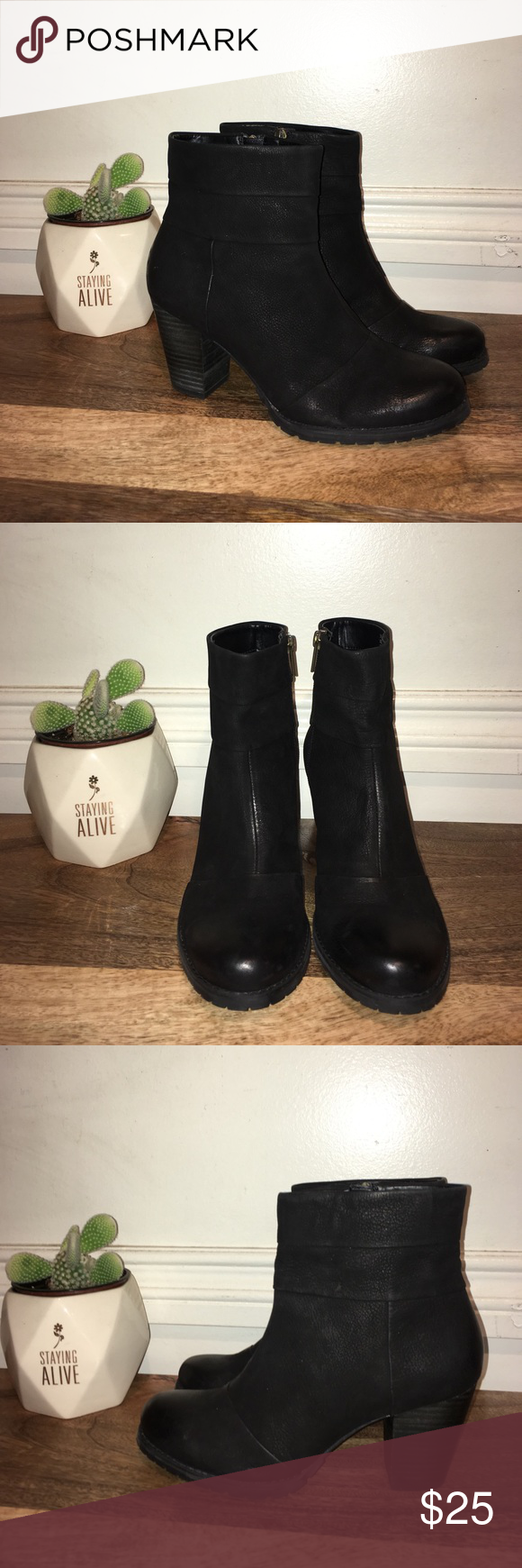 Clarks Booties 🌵 Black Distressed Leather Botties gently worn, with scuffs and marks from normal wear, however no stains or holes, lots of life left 🌸 Clarks Shoes