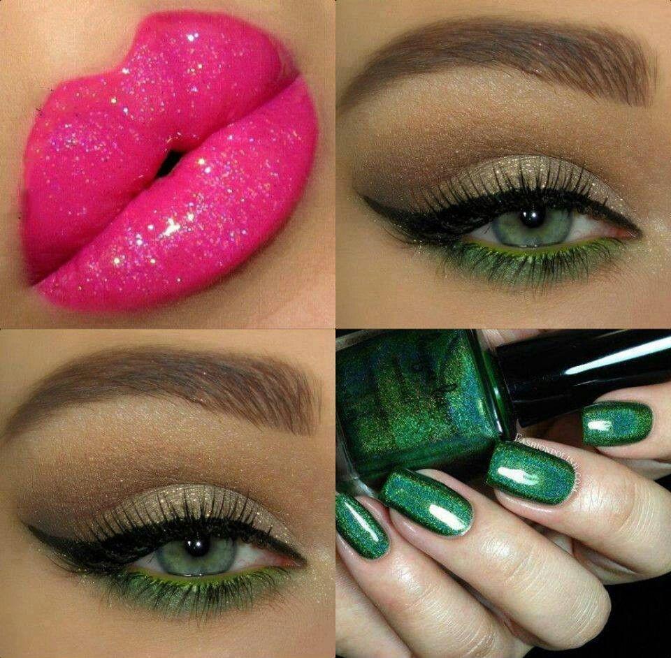 Ojos  en dorado y verde labios fucsia