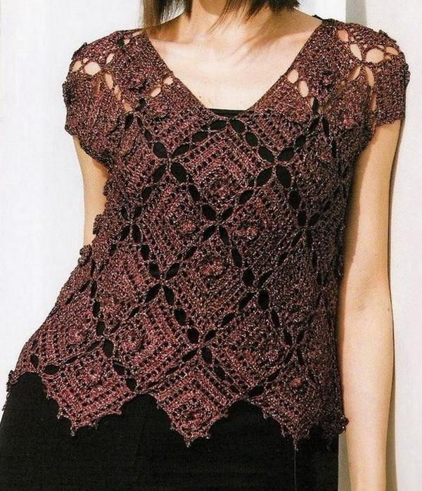 """Suéter de ganchillo: Tejer suéter patrón gratuito [ """"Crochet Sweater: Crochet Sweater Pattern Free- lots of other patterns also"""", """"Direct link to free chart - Crochet Sweater"""", """"D-Häkeln Tunika Top braun : Schema Muster crochet tunic top"""", """"pattern under sweater A list Women Crochet Vest Sweater brown"""", """"Crochet Sweater: Pretty square motif pattern - has graphs"""", """"Source: A Japanese Magazines Series Sweater for Women More …"""", """"10 Fascinating Ideas to Create Crochet Patterns on Y..."""
