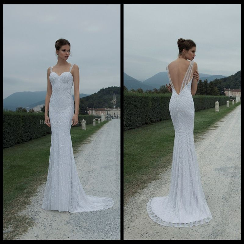 2014 Berta Bridal Spaghetti Strap Sequins Luxy Sheath Sexy Backless Wedding Gowns Heavy Beaded