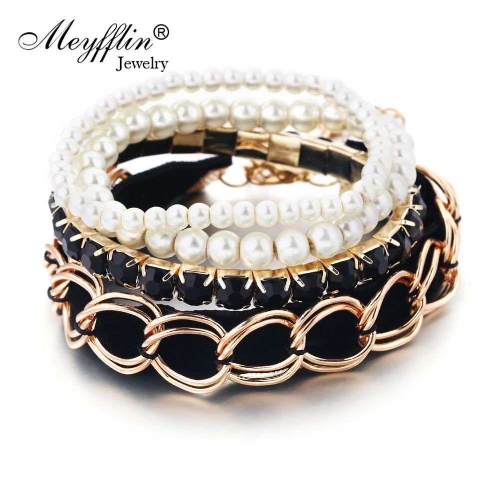 Christmas gifts fashion charm bracelets bangles simulated pearl