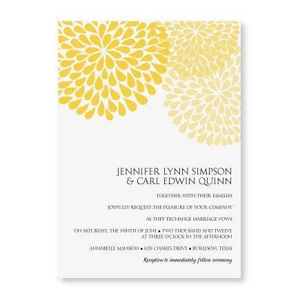 Diyweddingtemplates Com Chrysanthemum Yellow Wedding Invitation