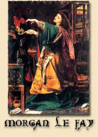 """Morgan Le Fay or Morgan of the Faeries was Arthur's half-sister. She was a priestess of Avalon where she was raised and tutored in the magickal arts. She may have been a lover of Marlin, who taught her many skills. Morgan, means """"of the Sea"""", and may refer to her Avalonian home across the waters. Morgan le fay was a seductive enchantress, a wild woman of Faery."""