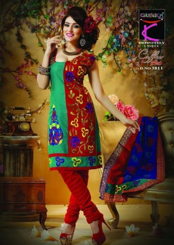 Unstitched Embroidery Cotton Salwar Kameez Material Cotton Dupatta - Green-Red