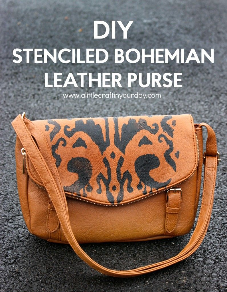 DIY Stenciled Bohemian Leather Purse | A Little Craft In Your Day #decoartprojects #sosoft #fabricpaint