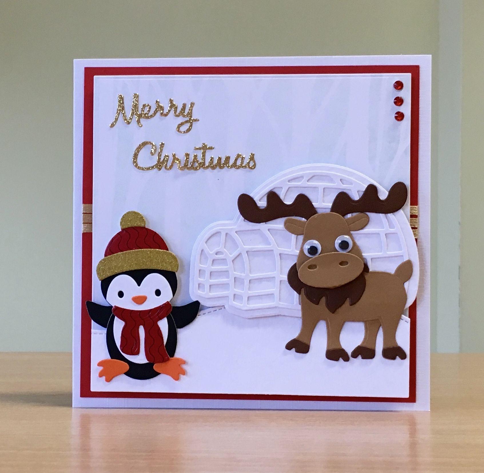 Christmas Card, Handmade - Elizabeth Craft moose, igloo & penguin ...