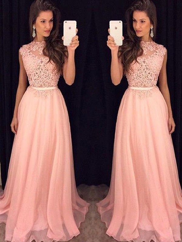 A Line/Princess High Neck Sleeveless Chiffon Floor Length Dresses JollyProm