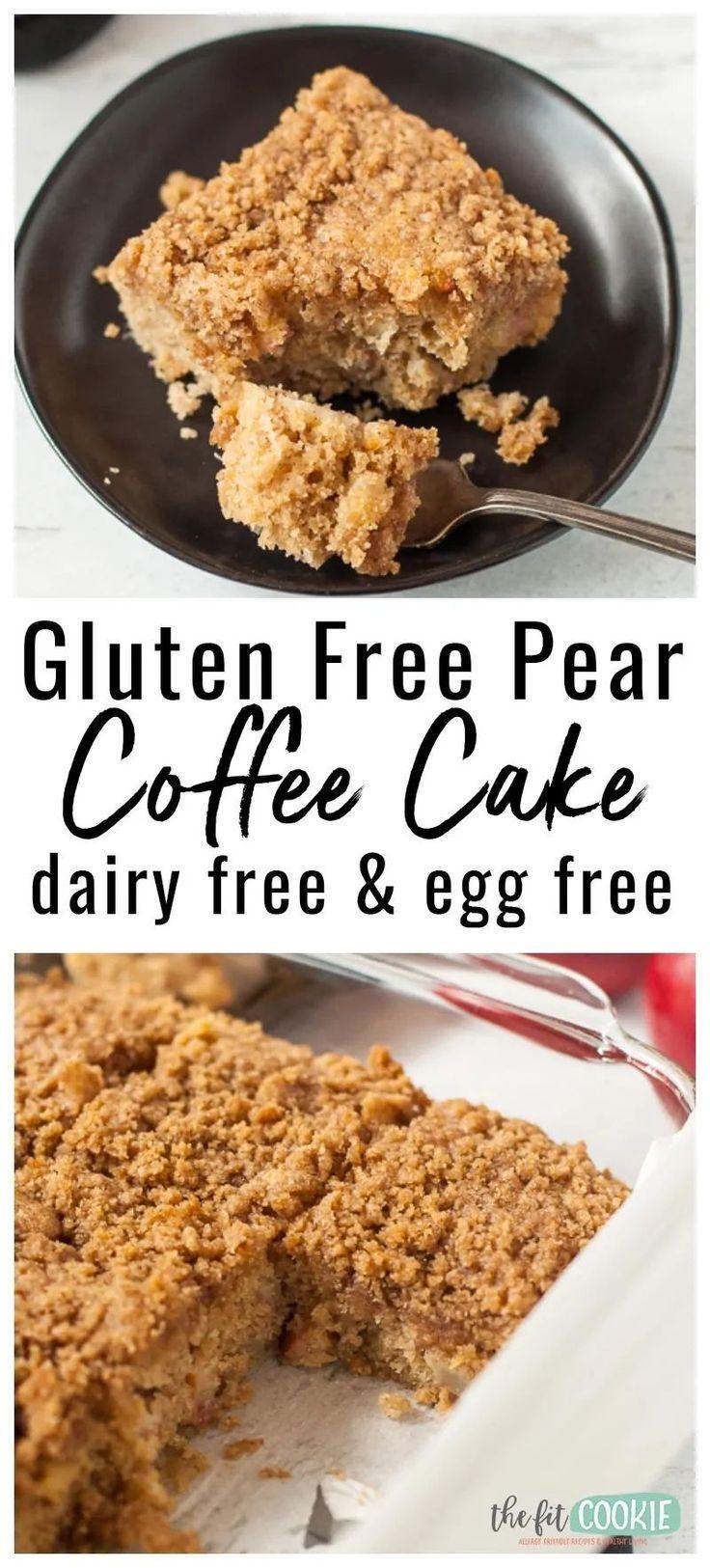 Gluten Free Coffee Cake with Pears (Dairy Free) #glutenfreebreakfasts