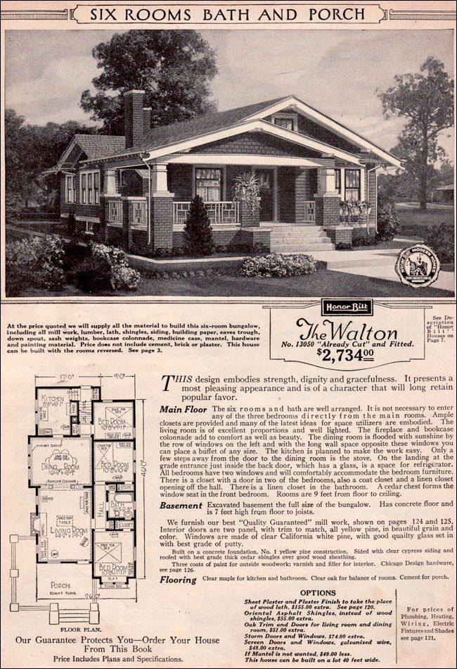 Craftsman Style Bungalow 1923 Sears Modern Home Kit House Walton Bungalow House Plans Craftsman Style Bungalow Craftsman House Plans