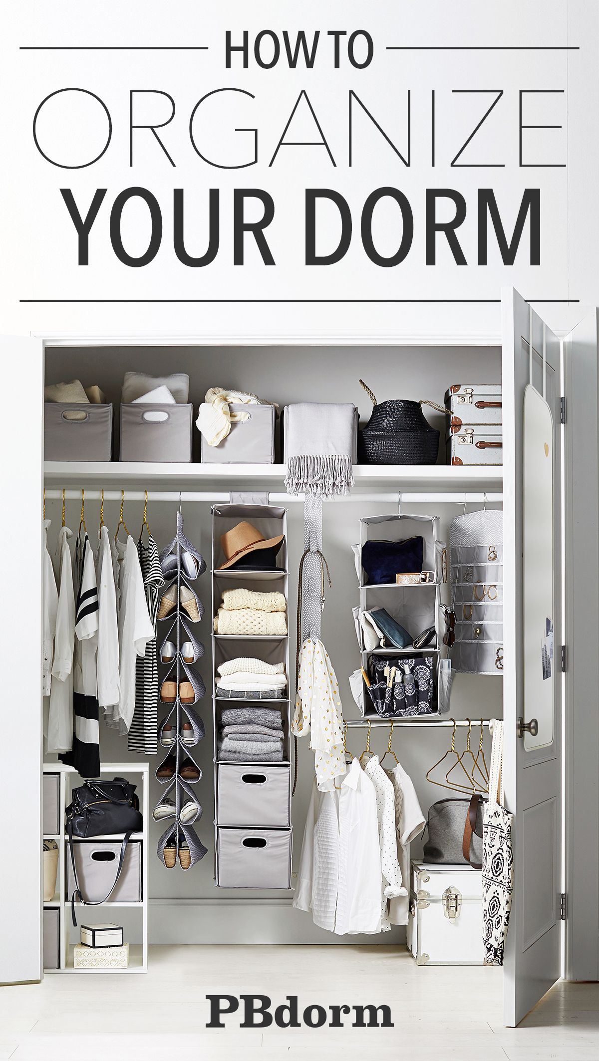 When you have to share a closet maximizing space is key! Get storage bins and label them with your names so you know whose things go where.  sc 1 st  Pinterest & When you have to share a closet maximizing space is key! Get ...
