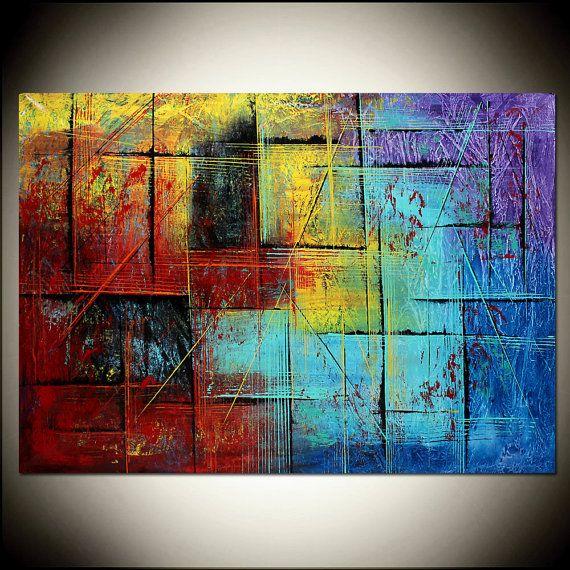 GROßE Gemälde Original Kunstwerk rote abstrakte von largeartwork