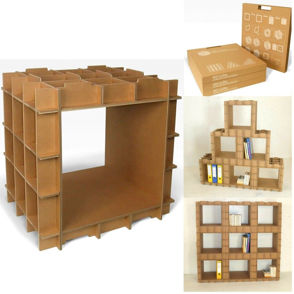 Kit meuble en carton module de rangement stri cube ecru cube atelier and sewing box - Meuble cube but ...