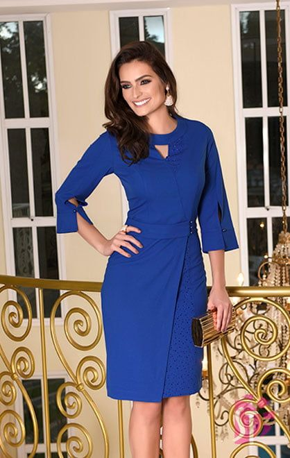 94929a0b6 Vestido Evangelico, vestido tubinho de crepe com mangas 3/4 na cor azul da  moda evangélica sol da terra.