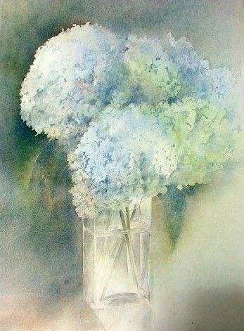 Aquarelles Anne Peyrat Hortensias Bleus Tarbes Place Du Foirail