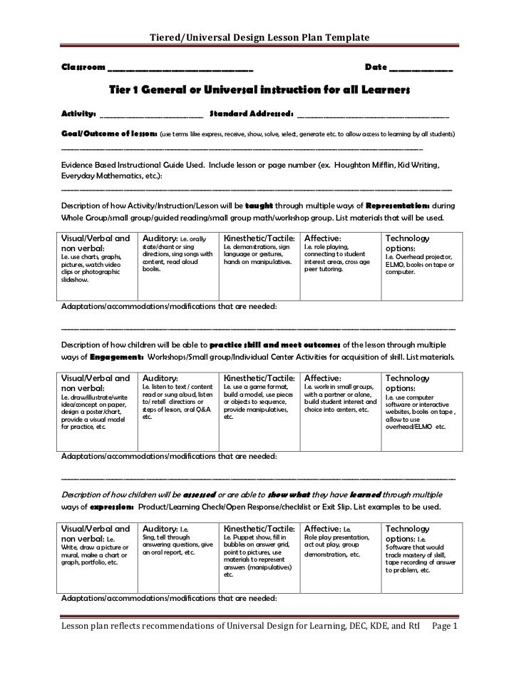 TieredUniversal Design Lesson Plan Template Classroom    School