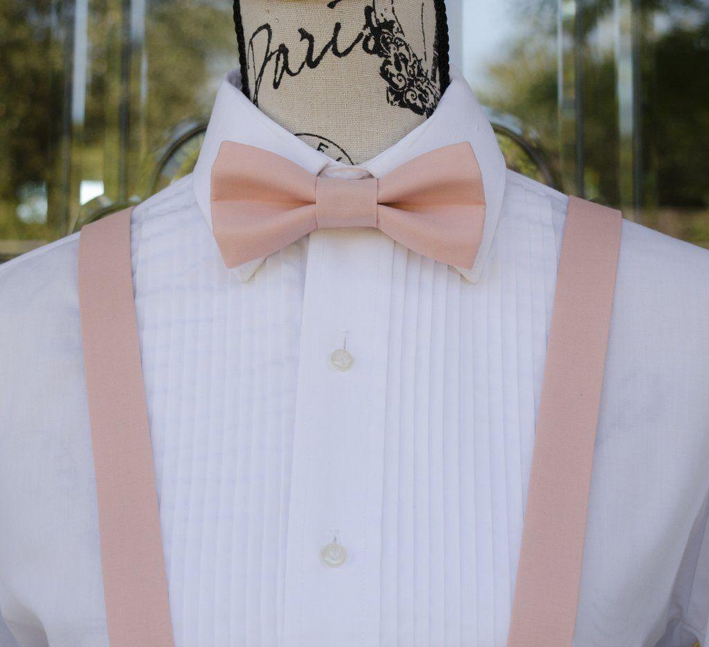 New Wedding Accessories Blush Pink Rose  Men/'s Bow Tie /& Suspender /& Bow Tie Set