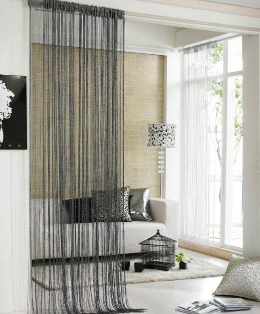 Black With Silver Metallic Thread Curtain Etsy Modern Room