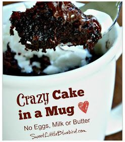 Crazy Cake in a Mug - No Eggs, Milk or Butter, Ready in ...