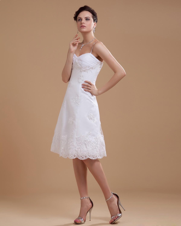 Straps Satin Lace Beading Spaghetti Short Wedding Dress