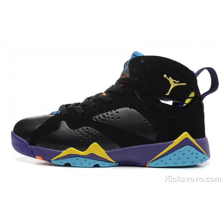 san francisco c38e9 bbcc7 Women s Air Jordan 7 Black Purple Yellow