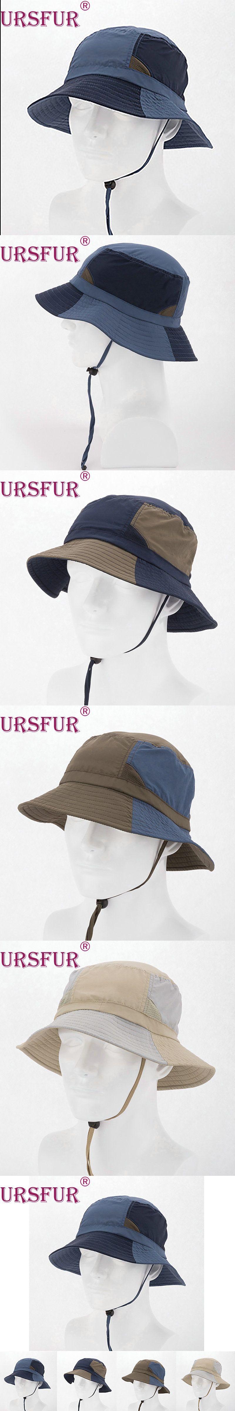 c8199ea9f6a URSFUR Men s Fisherman Bob Summer Bucket Hat Spliced Wide Brim Hat Sun Cap  Men trekking Sombrero