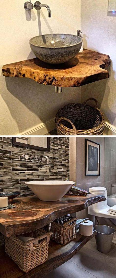 Top 20 Cool Decorating Ideas with Live Edge Wood #bathroomvanitydecor