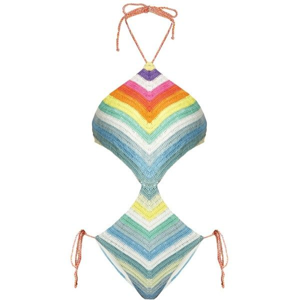 Mara Hoffman Prismatic-striped crochet cut-out swimsuit (365 BRL) ❤ liked on Polyvore featuring swimwear, one-piece swimsuits, swimsuits, bathing suits, mara hoffman, multi, halter top one piece swimsuits, swim suits, one piece side cut out swimsuit and striped one piece swimsuit