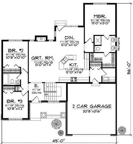 Plano de casa cl sica de 3 dormitorios en una planta for Planos para aser una casa