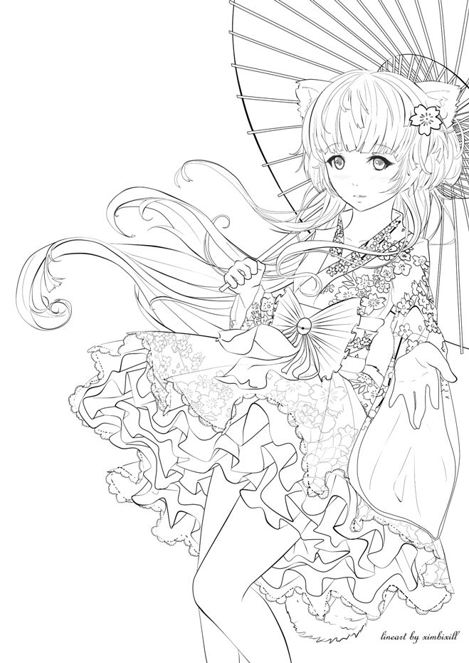 You Can Color This Lineart As You Wish (I Made This For A  Contest, But I Did Not Ge… Cartoon Coloring Pages, Mermaid Coloring Pages,  Cute Coloring Pages