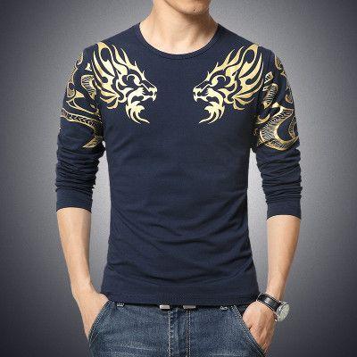 Mens Crew Neck T-Shirts Long Sleev Dragon Totem Tattoo Printed T-shirt SP
