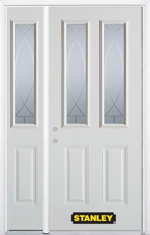 52 75 Inch X 82 375 Inch Bourgogne 2 Lite 2 Panel Prefinished White Right Hand Inswing Steel Prehung Front Door With Sidelite Front Door Stanley Doors Paneling