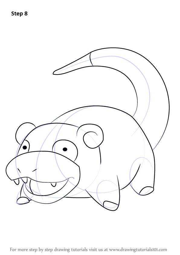 How To Draw Slowpoke From Pokemon Drawingtutorials101 Com Pokemon Drawings All Pokemon Drawing Disney Character Drawing