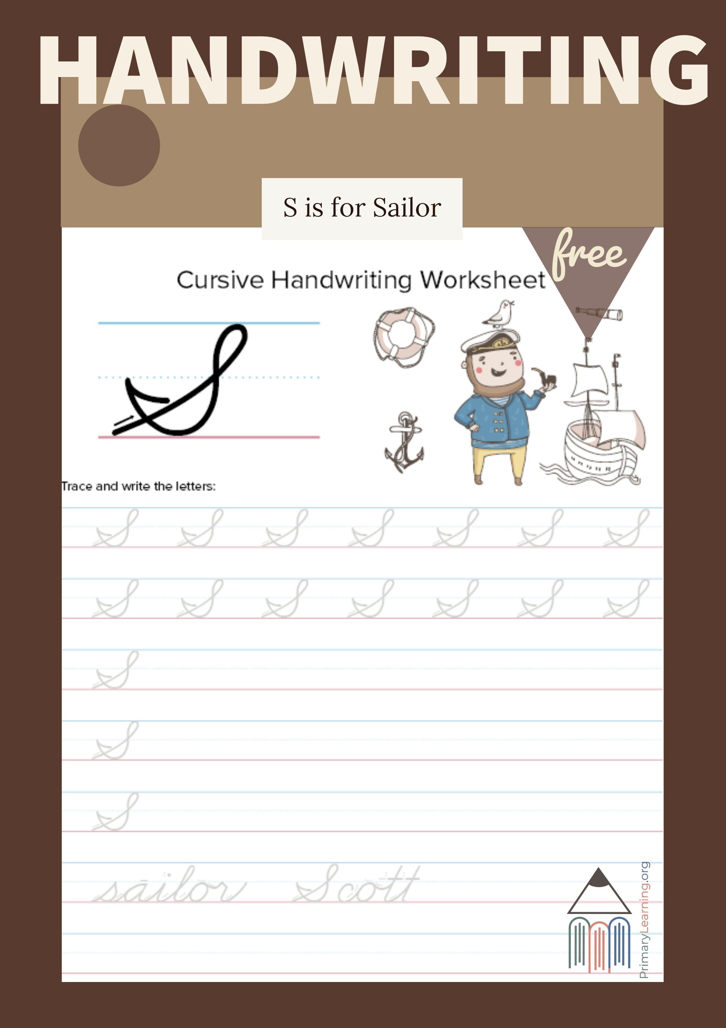 Cursive Uppercase S Worksheet