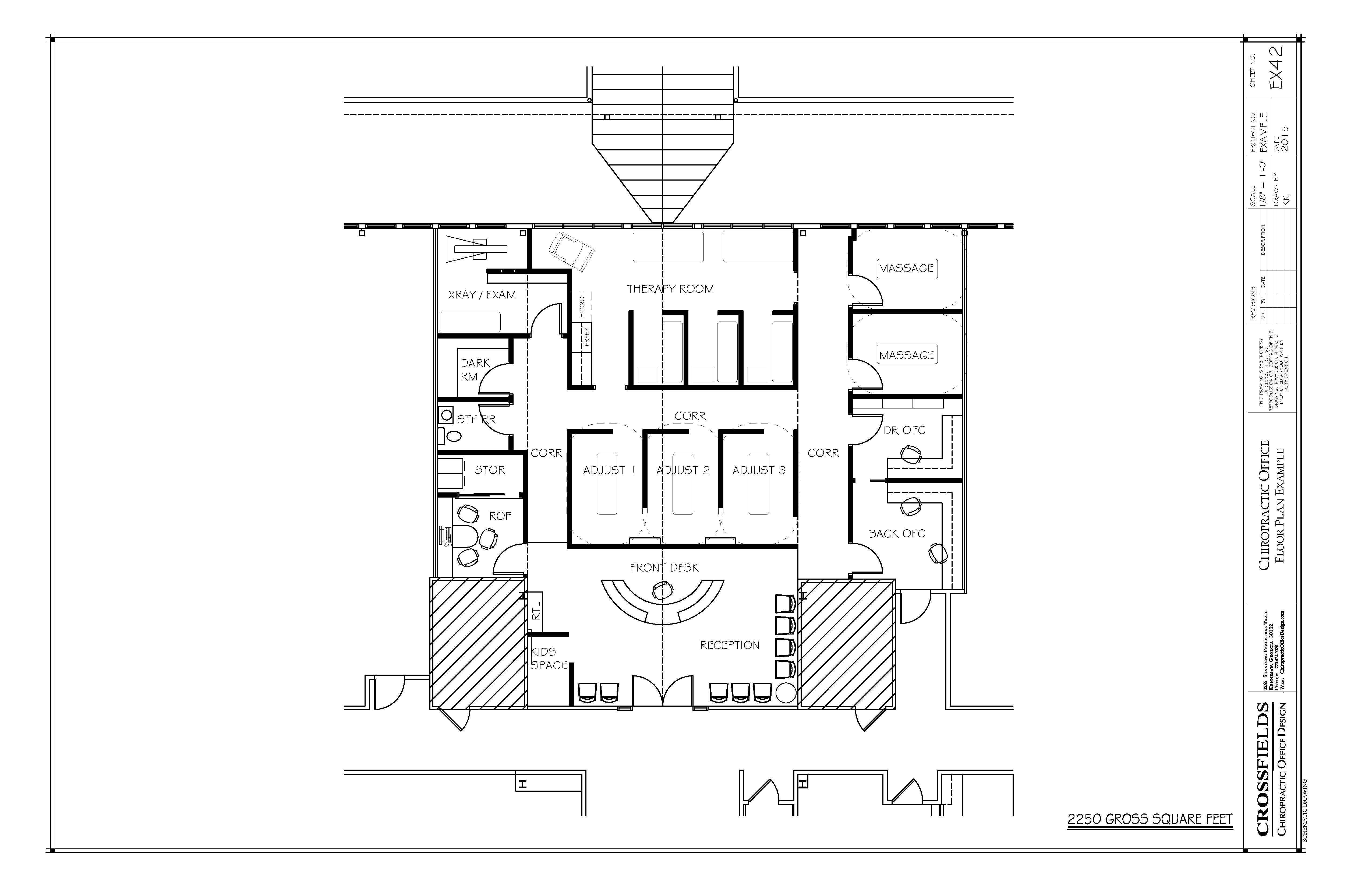 office room plan. #Chiropractor #office #floorplan With Therapy And Massage Rooms. 2,250 Square Feet Office Room Plan E