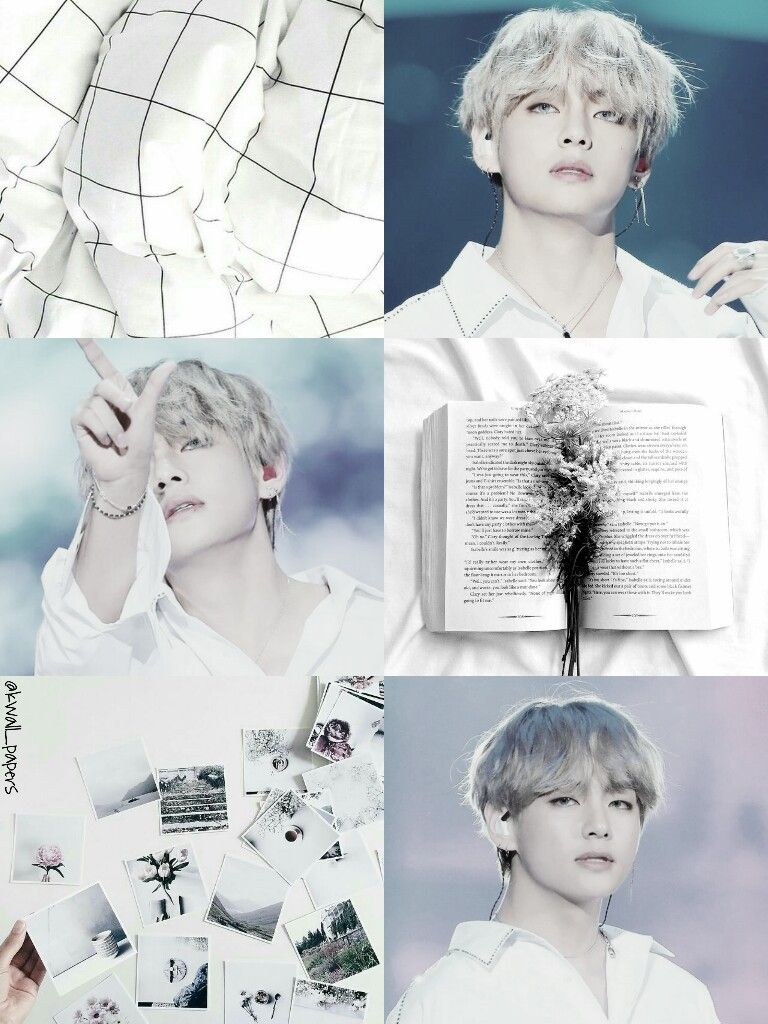 Bts Bangtan Kim Taehyung White Aesthetic Collage Wallpaper By